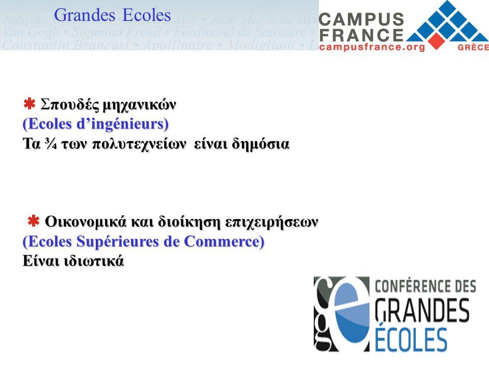 Grandes Ecoles πουδές μηχανικών  Σπουδές μηχανικών (Ecoles d'ingénieurs) Τα ¾ των πολυτεχνείων είναι δημόσια Οικονομικά και διοίκηση επιχειρήσεων  Ο