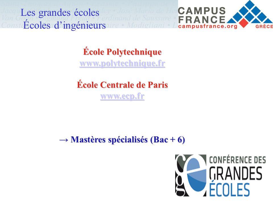 Les grandes écoles Écoles d'ingénieurs École Polytechnique www.polytechnique.fr www.polytechnique.fr École Centrale de Paris www.ecp.fr → Mastères spé