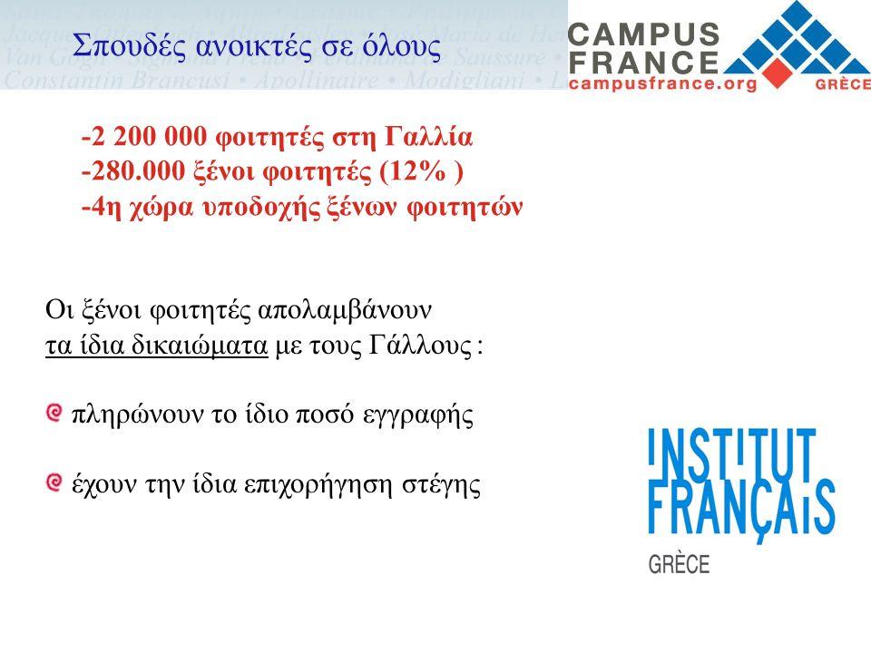 Οι ξένοι φοιτητές απολαμβάνουν τα ίδια δικαιώματα με τους Γάλλους : πληρώνουν το ίδιο ποσό εγγραφής έχουν την ίδια επιχορήγηση στέγης Σπουδές ανοικτές