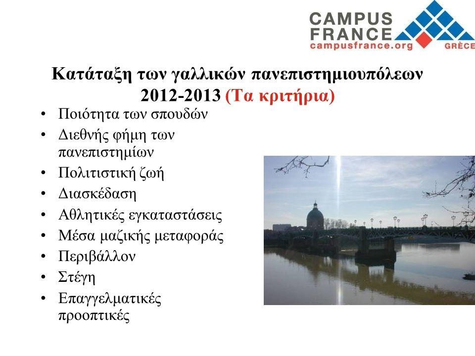 Κατάταξη των γαλλικών πανεπιστημιουπόλεων 2012-2013 (Τα κριτήρια) •Ποιότητα των σπουδών •Διεθνής φήμη των πανεπιστημίων •Πολιτιστική ζωή •Διασκέδαση •
