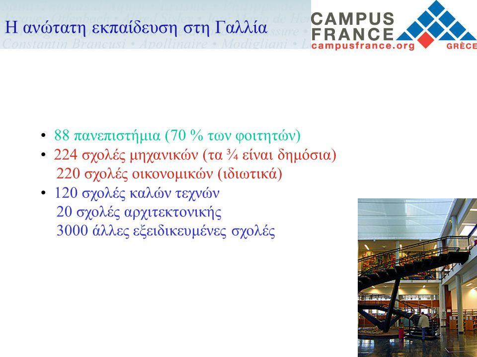 • 88 πανεπιστήμια (70 % των φοιτητών) • 224 σχολές μηχανικών (τα ¾ είναι δημόσια) 220 σχολές οικονομικών (ιδιωτικά) • 120 σχολές καλών τεχνών 20 σχολέ