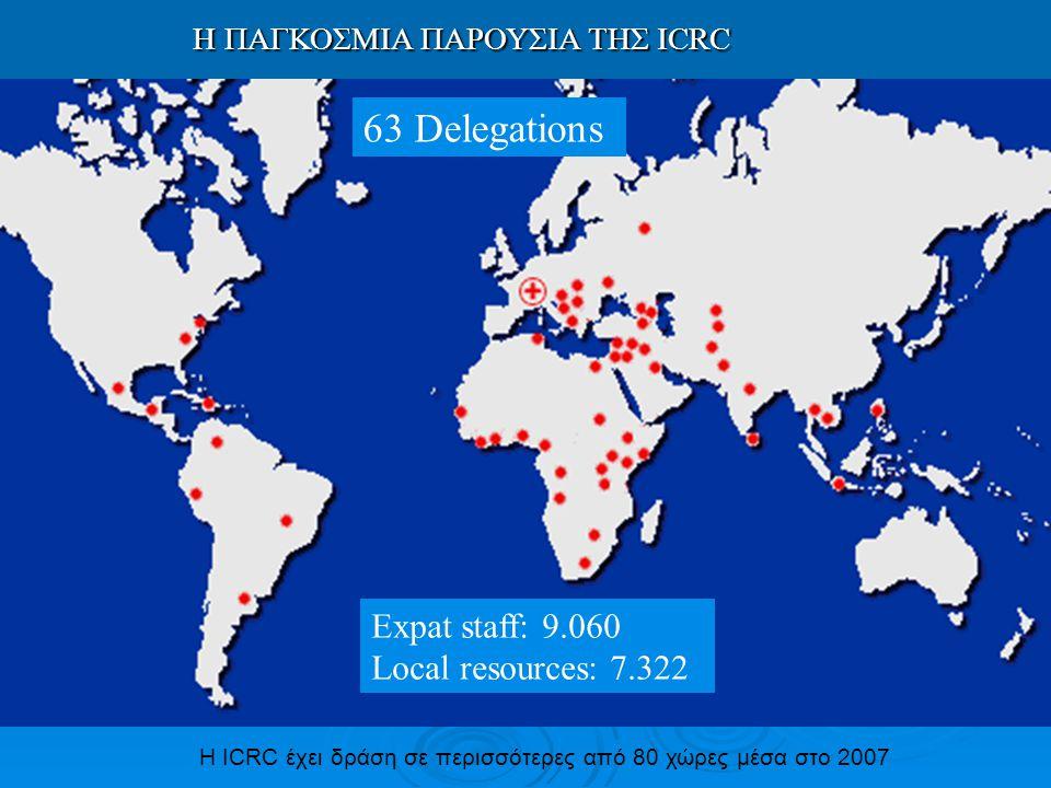 Η ICRC έχει δράση σε περισσότερες από 80 χώρες μέσα στο 2007 H ΠΑΓΚΟΣΜΙΑ ΠΑΡΟΥΣΙΑ ΤΗΣ ICRC H ΠΑΓΚΟΣΜΙΑ ΠΑΡΟΥΣΙΑ ΤΗΣ ICRC 63 Delegations Expat staff: 9