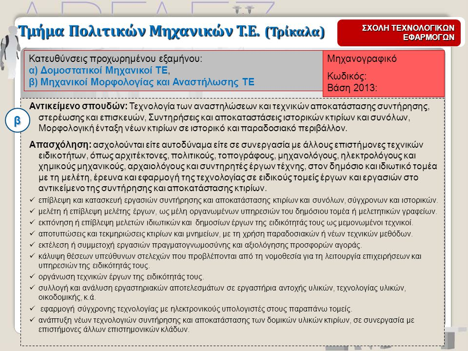 Μηχανογραφικό Κωδικός: Βάση 2013: Κατευθύνσεις προχωρημένου εξαμήνου: α) Δομοστατικοί Μηχανικοί ΤΕ, β) Μηχανικοί Μορφολογίας και Αναστήλωσης ΤΕ Τμήμα