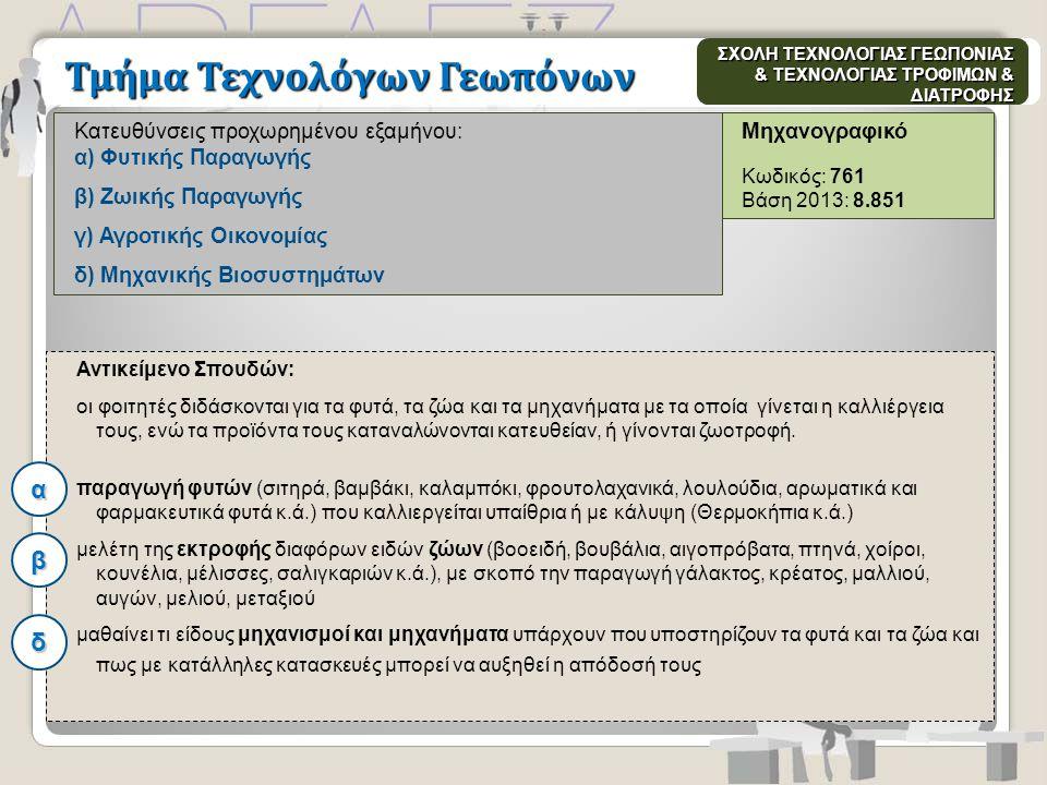 Μηχανογραφικό Κωδικός: 761 Βάση 2013: 8.851 Κατευθύνσεις προχωρημένου εξαμήνου: α) Φυτικής Παραγωγής β) Ζωικής Παραγωγής γ) Αγροτικής Οικονομίας δ) Μη