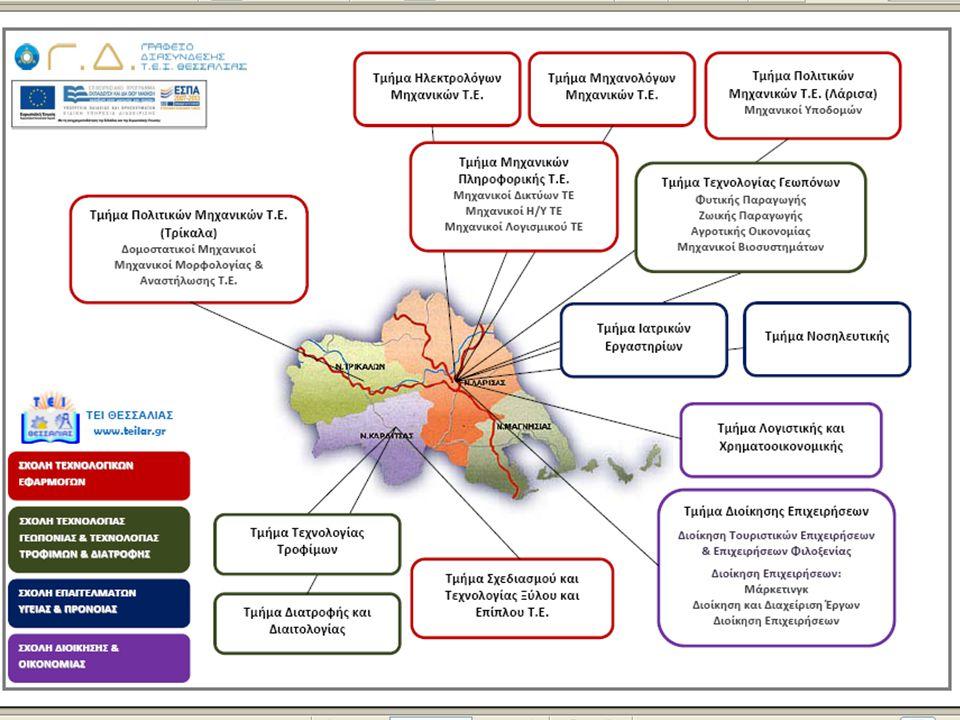 ΤΕΙ Θεσσαλίας : Σχολές & Τμήματα