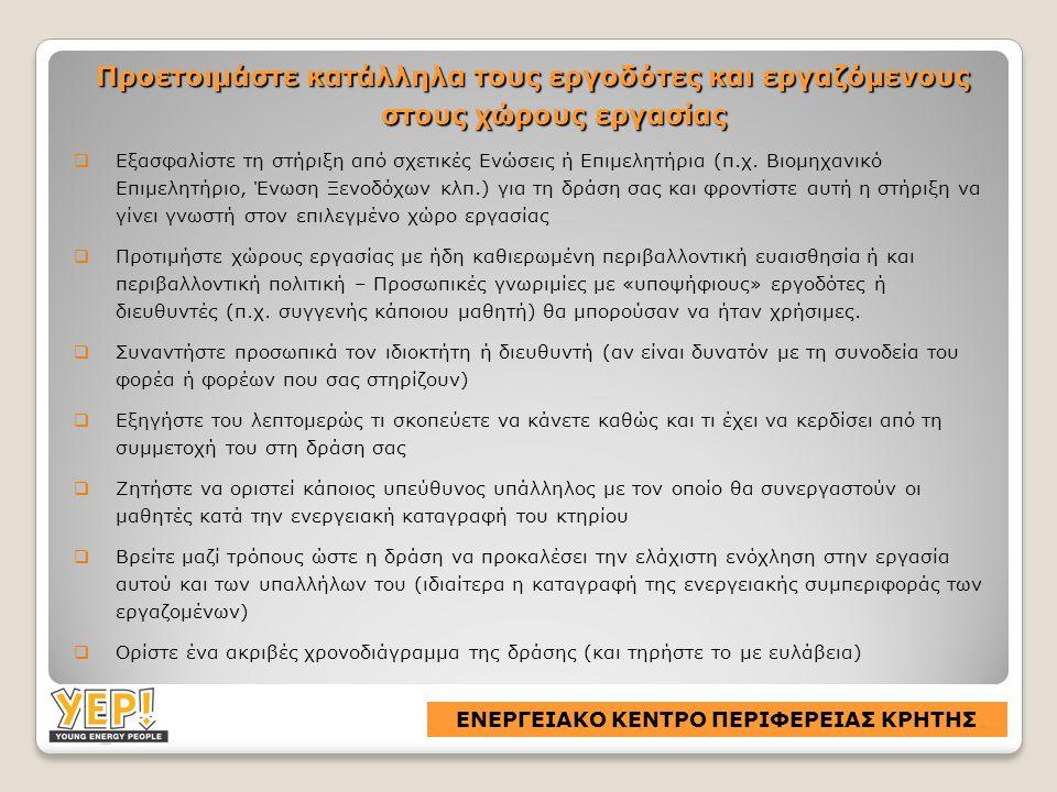 Προετοιμάστε κατάλληλα τους εργοδότες και εργαζόμενους στους χώρους εργασίας  Εξασφαλίστε τη στήριξη από σχετικές Ενώσεις ή Επιμελητήρια (π.χ.