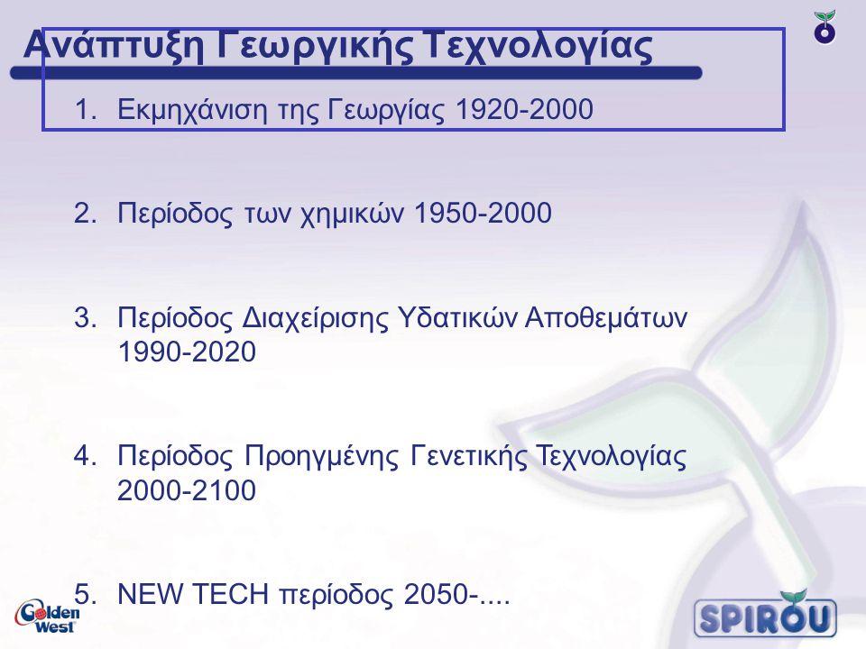 Ανάπτυξη Γεωργικής Τεχνολογίας 1.Εκμηχάνιση της Γεωργίας 1920-2000 2.Περίοδος των χημικών 1950-2000 3.Περίοδος Διαχείρισης Υδατικών Αποθεμάτων 1990-2020 4.Περίοδος Προηγμένης Γενετικής Τεχνολογίας 2000-2100 5.NEW TECH περίοδος 2050-....