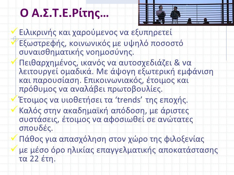 Ο Α.Σ.Τ.Ε.Ρίτης…  Ειλικρινής και χαρούμενος να εξυπηρετεί  Εξωστρεφής, κοινωνικός με υψηλό ποσοστό συναισθηματικής νοημοσύνης.  Πειθαρχημένος, ικαν