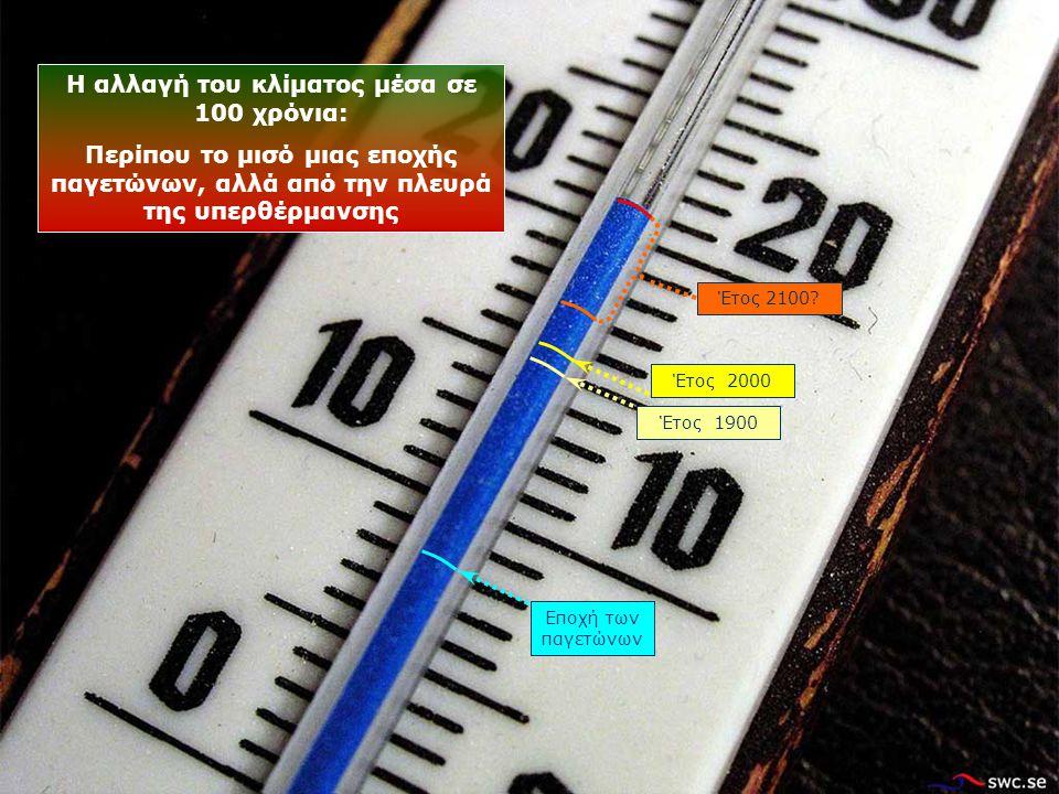Εποχή των παγετώνων Έτος 1900 Έτος 2100.
