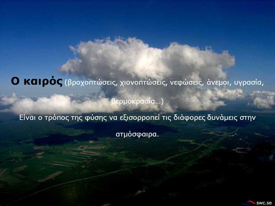 Ο καιρός (βροχοπτώσεις, χιονοπτώσεις, νεφώσεις, άνεμοι, υγρασία, θερμοκρασία…) Είναι ο τρόπος της φύσης να εξισορροπεί τις διάφορες δυνάμεις στην ατμόσφαιρα.