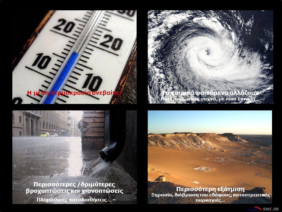 Τα καιρικά φαινόμενα αλλάζουν Πότε, πού, πόσο συχνά, με ποια ένταση… Η μέση θερμοκρασία ανεβαίνει Περισσότερες /δριμύτερες βροχοπτώσεις και χιονοπτώσεις Πλημμύρες, κατολισθήσεις… Περισσότερη εξάτμιση Ξηρασία, διάβρωση του εδάφους, καταστρεπτικές πυρκαγιές…