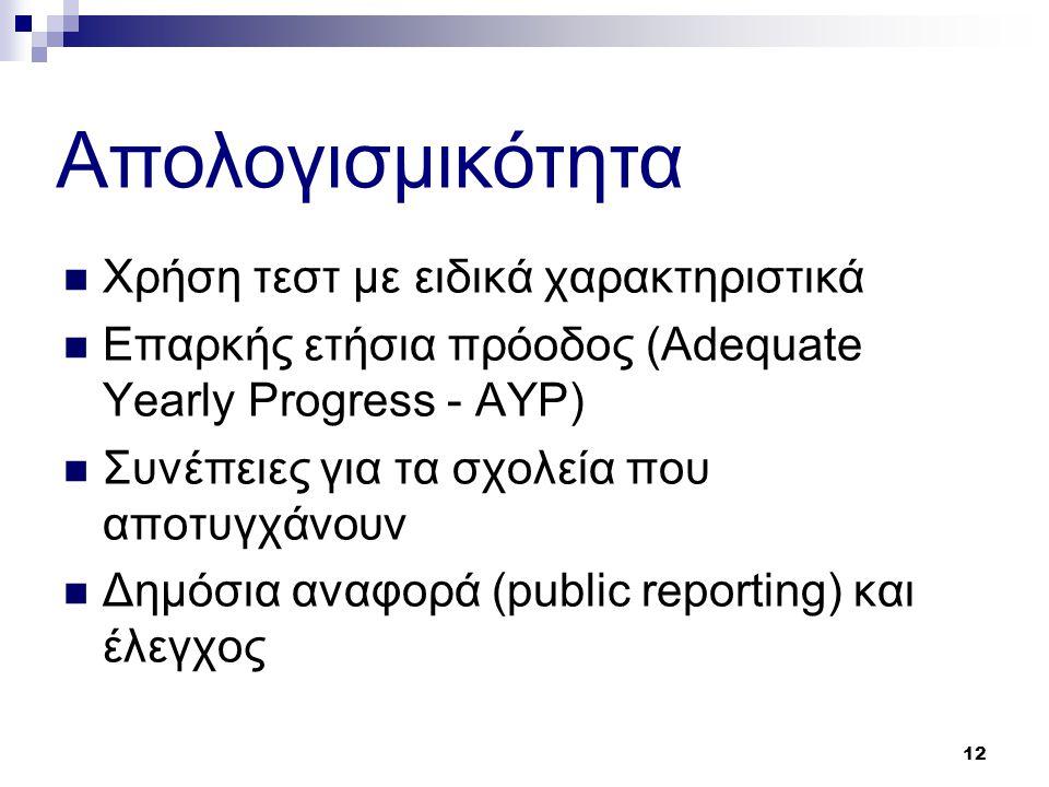 12  Χρήση τεστ με ειδικά χαρακτηριστικά  Επαρκής ετήσια πρόοδος (Adequate Yearly Progress - AYP)  Συνέπειες για τα σχολεία που αποτυγχάνουν  Δημόσια αναφορά (public reporting) και έλεγχος Aπολογισμικότητα