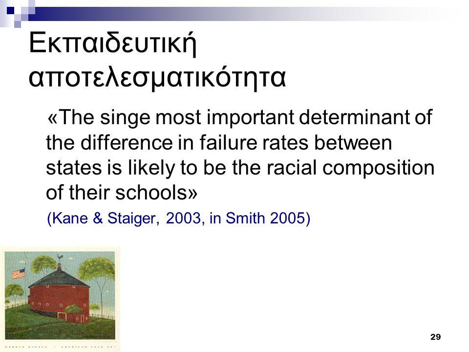 29 Εκπαιδευτική αποτελεσματικότητα «The singe most important determinant of the difference in failure rates between states is likely to be the racial composition of their schools» (Kane & Staiger, 2003, in Smith 2005)