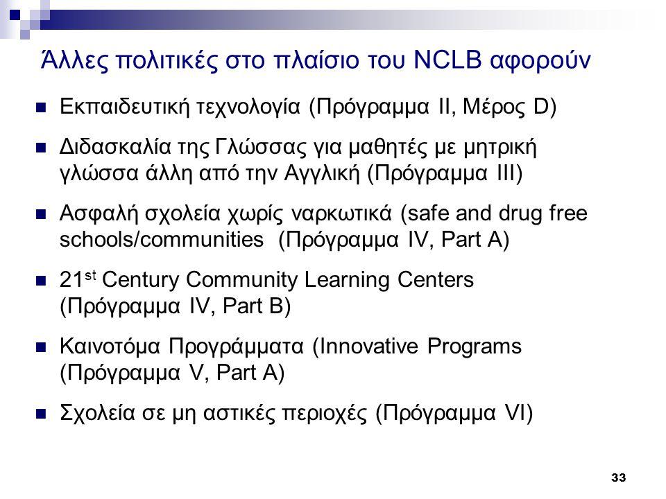 33  Εκπαιδευτική τεχνολογία (Πρόγραμμα II, Μέρος D)  Διδασκαλία της Γλώσσας για μαθητές με μητρική γλώσσα άλλη από την Αγγλική (Πρόγραμμα III)  Ασφαλή σχολεία χωρίς ναρκωτικά (safe and drug free schools/communities (Πρόγραμμα IV, Part A)  21 st Century Community Learning Centers (Πρόγραμμα IV, Part B)  Καινοτόμα Προγράμματα (Innovative Programs (Πρόγραμμα V, Part A)  Σχολεία σε μη αστικές περιοχές (Πρόγραμμα VI) Άλλες πολιτικές στο πλαίσιο του NCLB αφορούν