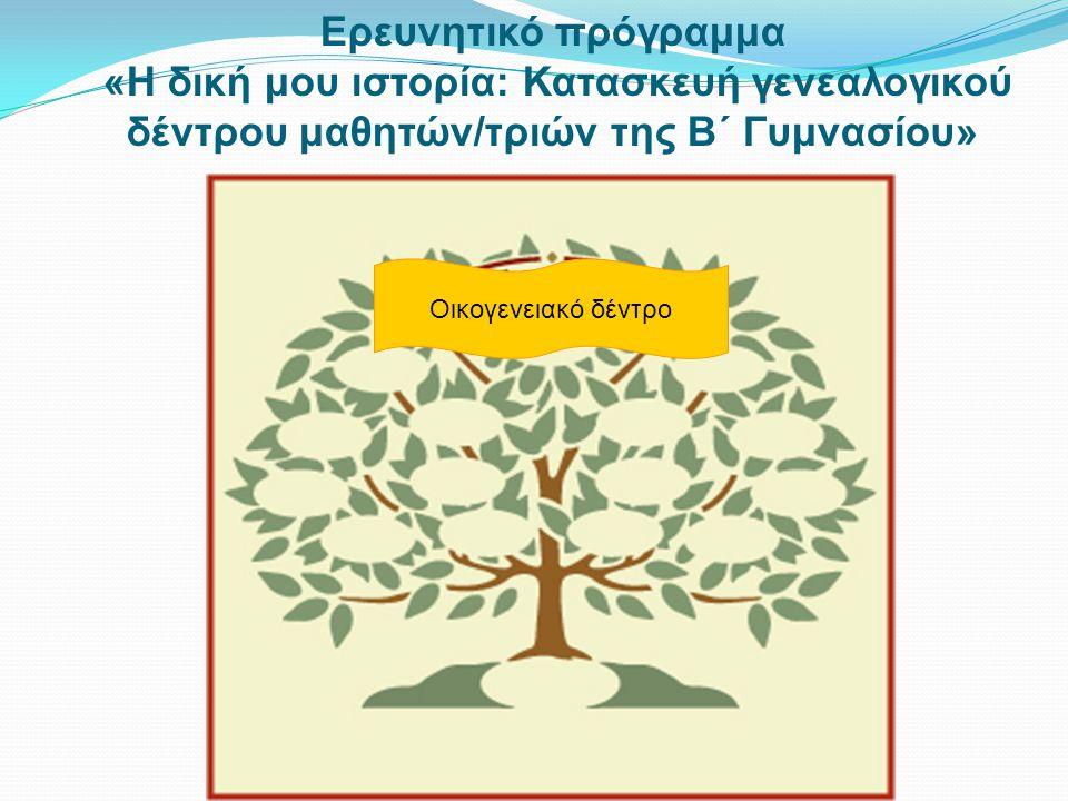 Ερευνητικό πρόγραμμα «Η δική μου ιστορία - Κατασκευή γενεαλογικού δέντρου μαθητών/τριών της Β΄ Γυμνασίου» Η Διεύθυνση Μέσης Εκπαίδευσης θα αναπτύξει κατά το σχολικό έτος 2011-2012 το ερευνητικό πρόγραμμα «Η δική μου Ιστορία: Κατασκευή γενεαλογικού δέντρου μαθητών/τριών της Β΄ Γυμνασίου».
