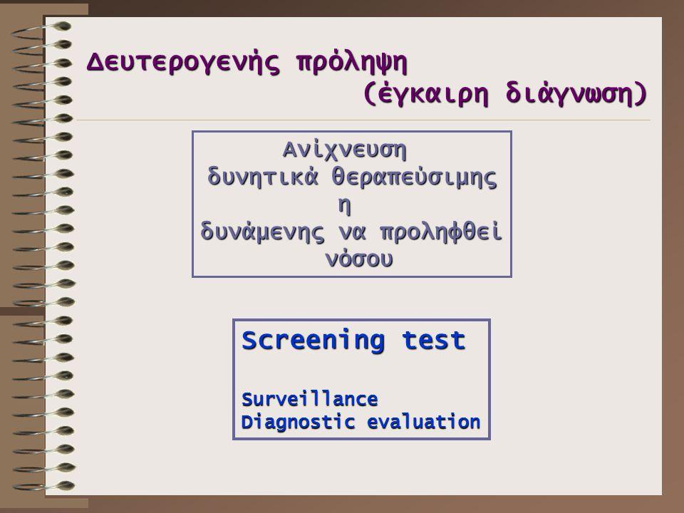 Δευτερογενής πρόληψη (έγκαιρη διάγνωση) Ανίχνευση δυνητικά θεραπεύσιμης η δυνάμενης να προληφθεί νόσου νόσου Screening test Surveillance Diagnostic ev