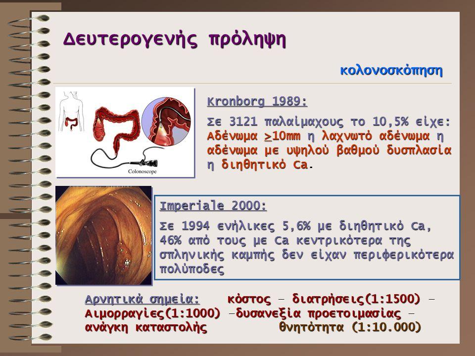 κολονοσκόπηση Δευτερογενής πρόληψη Kronborg 1989: Σε 3121 παλαίμαχους το 10,5% είχε: Αδένωμα >10mm η λαχνωτό αδένωμα η αδένωμα με υψηλού βαθμού δυσπλα