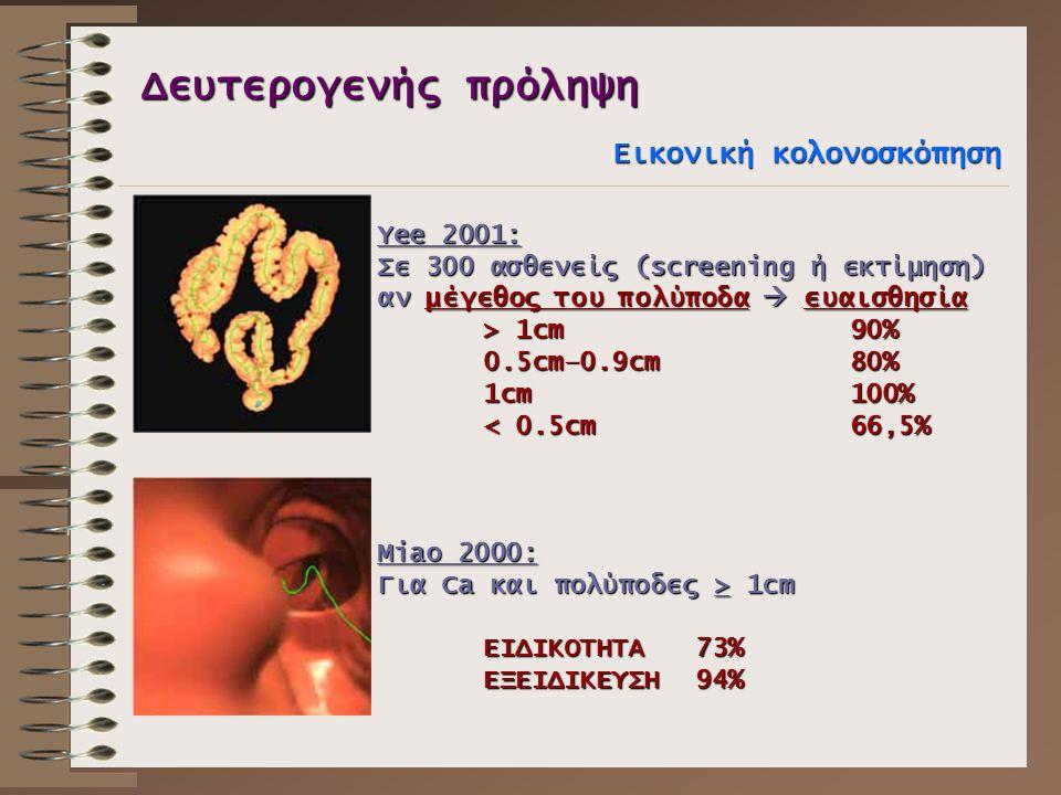 Δευτερογενής πρόληψη Εικονική κολονοσκόπηση Yee 2001: Σε 300 ασθενείς (screening ή εκτίμηση) αν μέγεθος του πολύποδα  ευαισθησία > 1cm 90% 0.5cm–0.9c