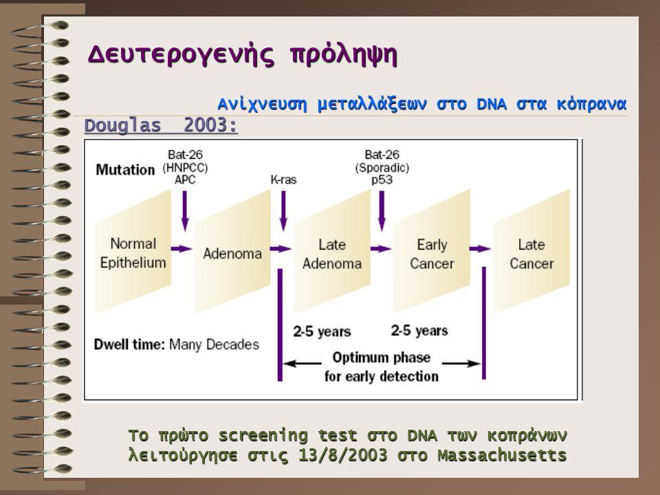 Δευτερογενής πρόληψη Ανίχνευση μεταλλάξεων στο DNA στα κόπρανα Douglas 2003: Το πρώτο screening test στο DNA των κοπράνων λειτούργησε στις 13/8/2003 σ