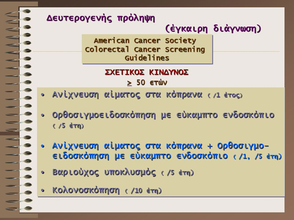Δευτερογενής πρόληψη (έγκαιρη διάγνωση) American Cancer Society Colorectal Cancer Screening Guidelines American Cancer Society Colorectal Cancer Scree
