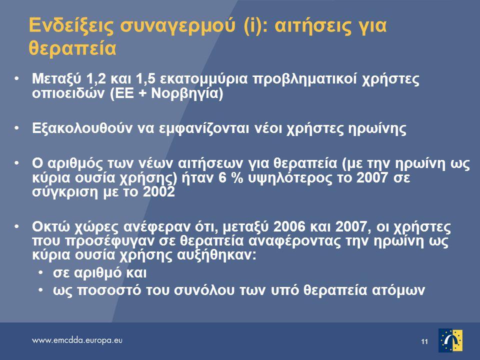 11 Ενδείξεις συναγερμού (i): αιτήσεις για θεραπεία •Μεταξύ 1,2 και 1,5 εκατομμύρια προβληματικοί χρήστες οπιοειδών (ΕΕ + Νορβηγία) •Εξακολουθούν να εμ