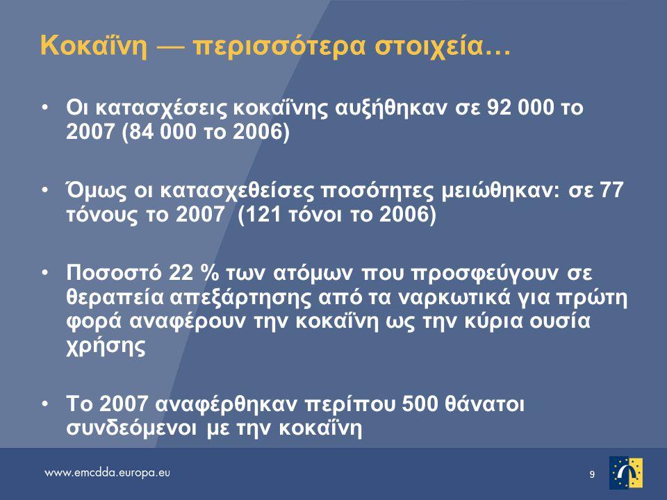 9 Κοκαΐνη — περισσότερα στοιχεία… •Οι κατασχέσεις κοκαΐνης αυξήθηκαν σε 92 000 το 2007 (84 000 το 2006) •Όμως οι κατασχεθείσες ποσότητες μειώθηκαν: σε