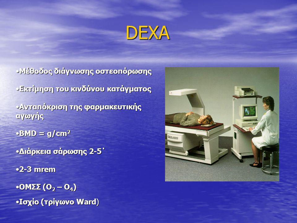 DEXA DEXA •Μέθοδος διάγνωσης οστεοπόρωσης •Εκτίμηση του κινδύνου κατάγματος •Ανταπόκριση της φαρμακευτικής αγωγής •BMD = g/cm 2 •Διάρκεια σάρωσης 2-5΄