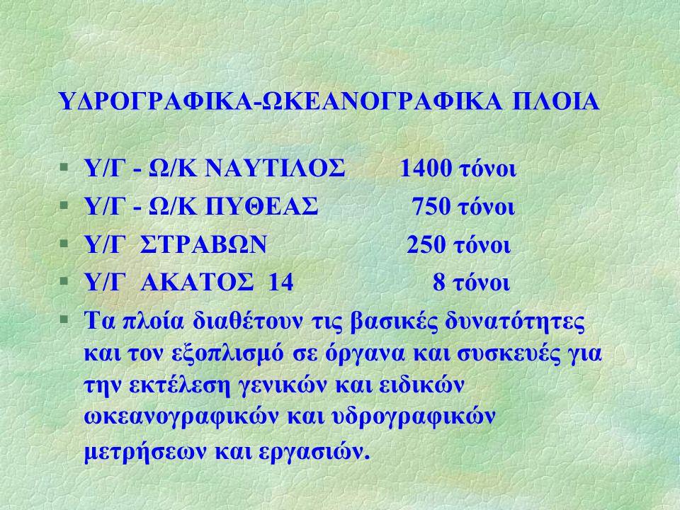ΥΔΡΟΓΡΑΦΙΚΑ-ΩΚΕΑΝΟΓΡΑΦΙΚΑ ΠΛΟΙΑ §Υ/Γ - Ω/Κ ΝΑΥΤΙΛΟΣ 1400 τόνοι §Υ/Γ - Ω/Κ ΠΥΘΕΑΣ 750 τόνοι §Υ/Γ ΣΤΡΑΒΩΝ 250 τόνοι §Υ/Γ ΑΚΑΤΟΣ 14 8 τόνοι §Τα πλοία δια
