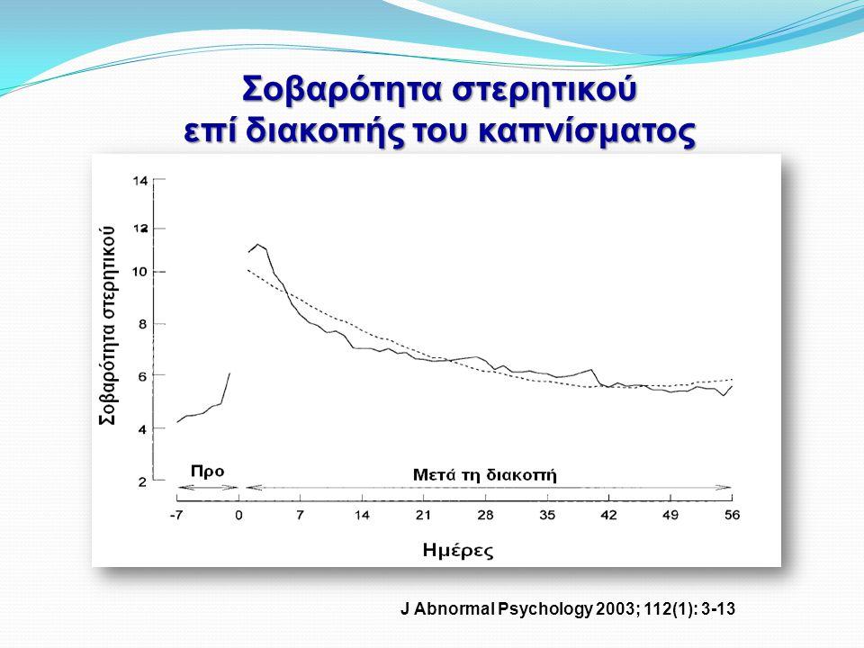Σοβαρότητα στερητικού επί διακοπής του καπνίσματος J Abnormal Psychology 2003; 112(1): 3-13