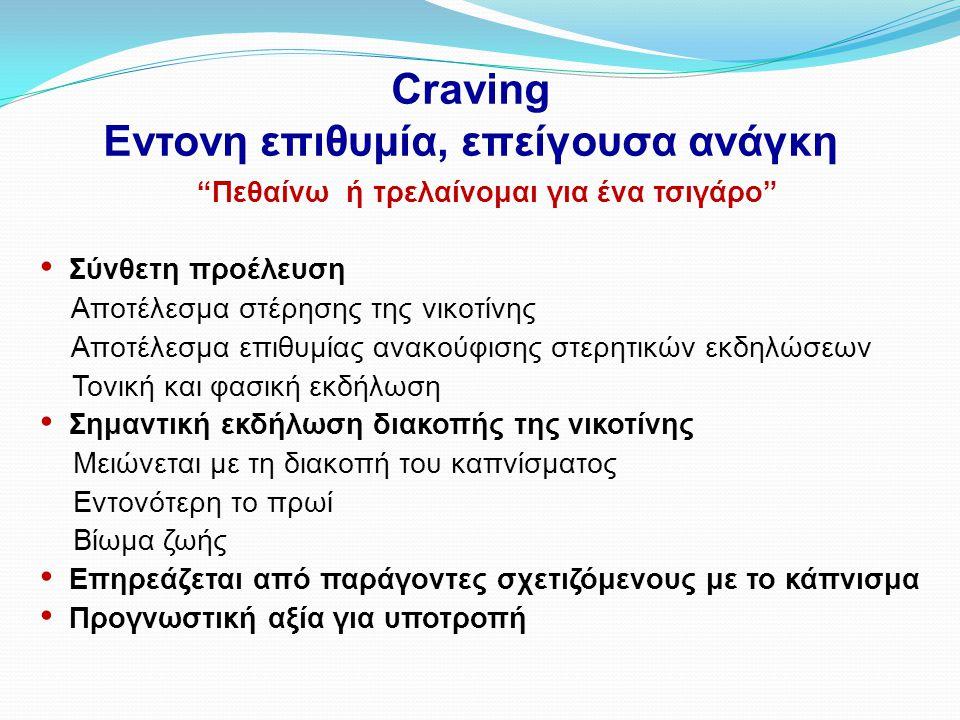 """Craving Εντονη επιθυμία, επείγουσα ανάγκη """"Πεθαίνω ή τρελαίνομαι για ένα τσιγάρο"""" • Σύνθετη προέλευση Αποτέλεσμα στέρησης της νικοτίνης Αποτέλεσμα επι"""