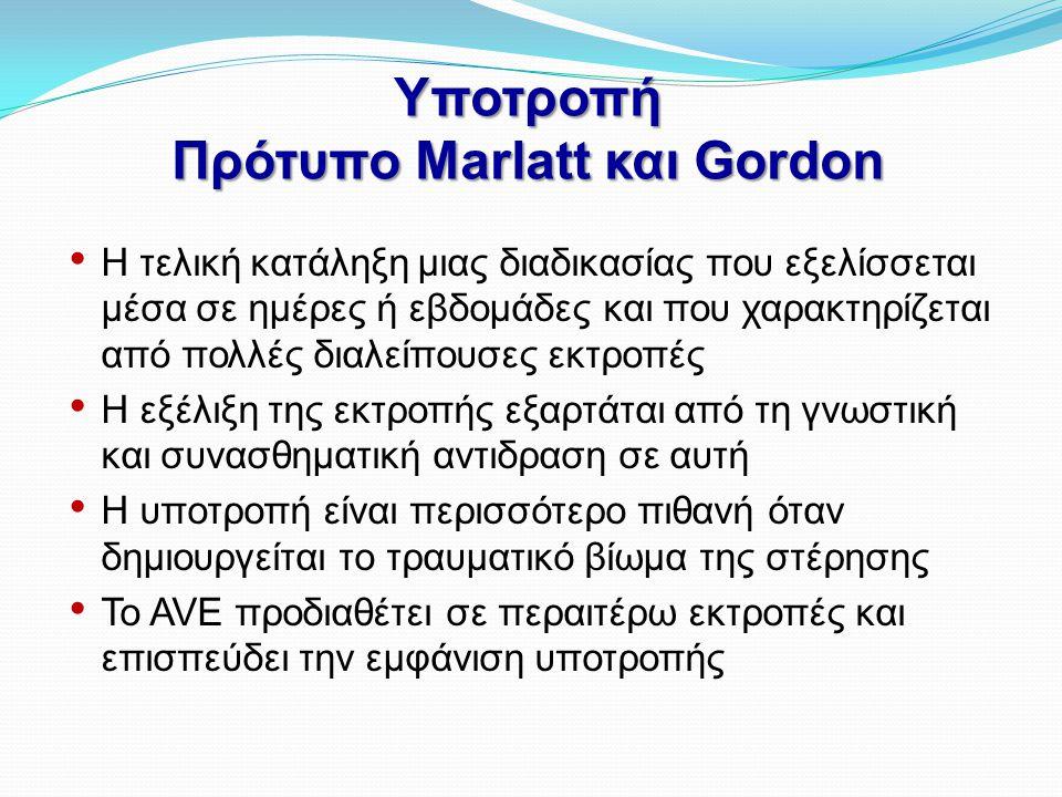 Υποτροπή Πρότυπο Marlatt και Gordon • Η τελική κατάληξη μιας διαδικασίας που εξελίσσεται μέσα σε ημέρες ή εβδομάδες και που χαρακτηρίζεται από πολλές
