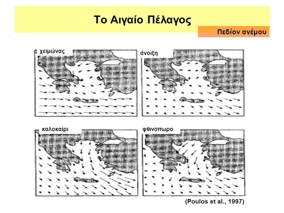Το Αιγαίο Πέλαγος χειμώνας άνοιξη καλοκαίριφθινόπωρο (Poulos et al., 1997) Πεδίον ανέμου