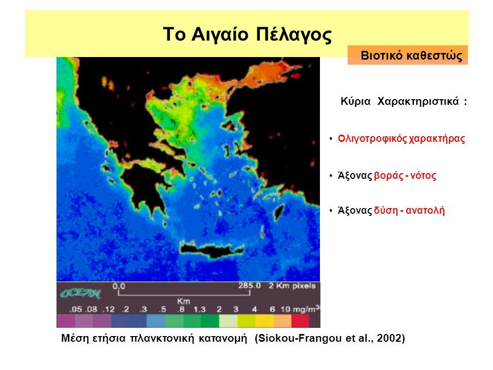 Το Αιγαίο Πέλαγος Μέση ετήσια πλανκτονική κατανομή (Siokou-Frangou et al., 2002) Κύρια Χαρακτηριστικά : • Ολιγοτροφικός χαρακτήρας • Άξονας βοράς - νό