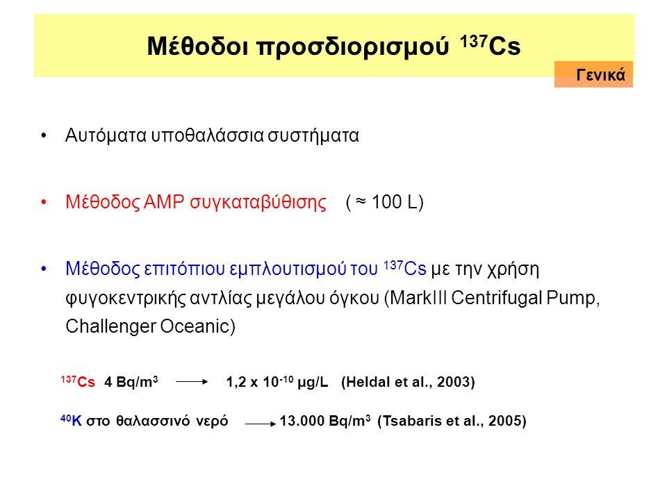 Μέθοδοι προσδιορισμού 137 Cs •Αυτόματα υποθαλάσσια συστήματα •Μέθοδος ΑMP συγκαταβύθισης ( ≈ 100 L) •Μέθοδος επιτόπιου εμπλουτισμού του 137 Cs με την