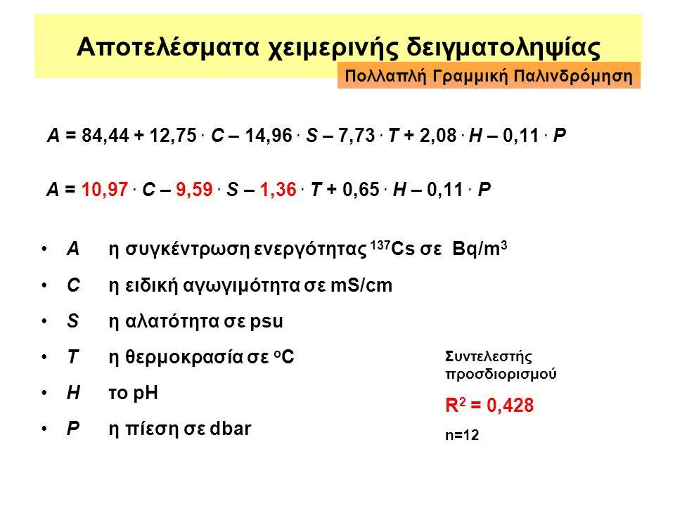 Αποτελέσματα χειμερινής δειγματοληψίας A = 84,44 + 12,75. C – 14,96. S – 7,73. T + 2,08. H – 0,11. P A = 10,97. C – 9,59. S – 1,36. T + 0,65. H – 0,11