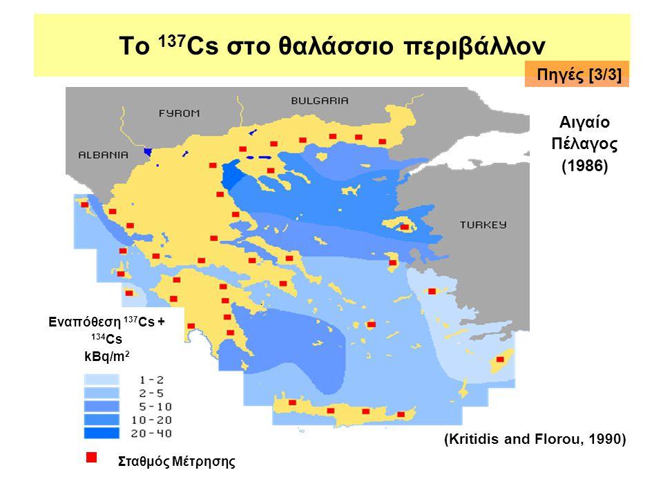 Το 137 Cs στο θαλάσσιο περιβάλλον Εναπόθεση 137 Cs + 134 Cs kBq/m 2 Αιγαίο Πέλαγος (1986) (Kritidis and Florou, 1990) Πηγές [3/3] Σταθμός Μέτρησης