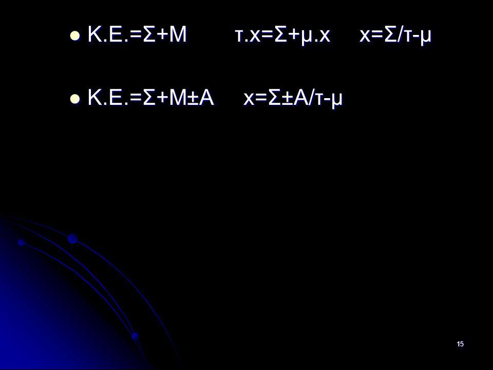 15  Κ.Ε.=Σ+Μ τ.x=Σ+μ.x x=Σ/τ-μ  Κ.Ε.=Σ+Μ±Α x=Σ±Α/τ-μ