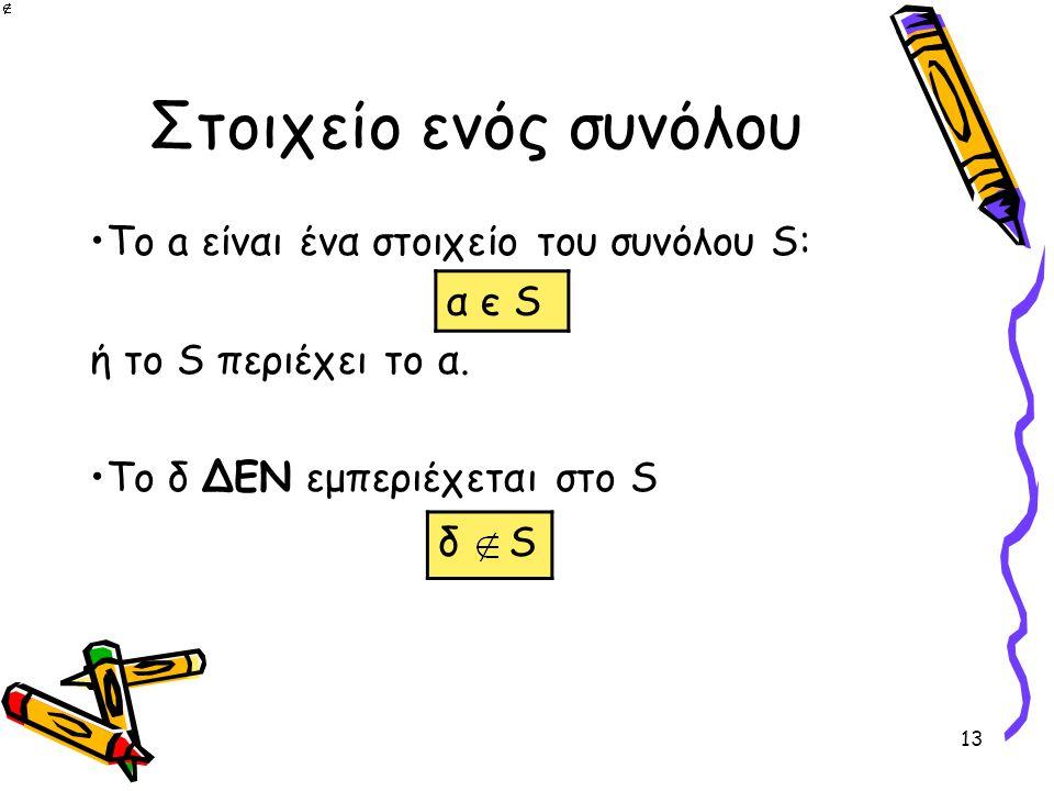 13 Στοιχείο ενός συνόλου •Το a είναι ένα στοιχείο του συνόλου S: α є S ή το S περιέχει το α. •Το δ ΔΕΝ εμπεριέχεται στο S α є S δ S