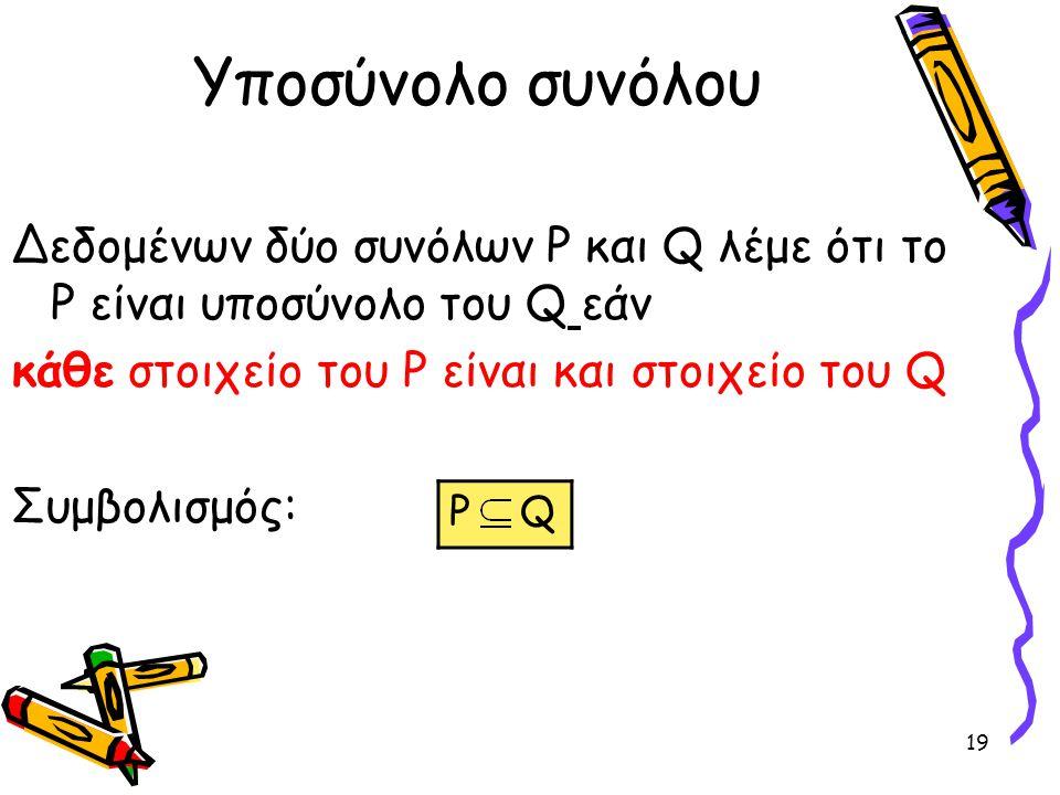 19 Υποσύνολο συνόλου Δεδομένων δύο συνόλων P και Q λέμε ότι το P είναι υποσύνολο του Q εάν κάθε στοιχείο του P είναι και στοιχείο του Q Συμβολισμός: P