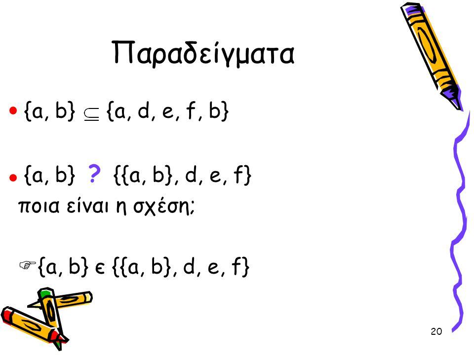20 Παραδείγματα {a, b} {a, d, e, f, b} {a, b} ? {{a, b}, d, e, f} ποια είναι η σχέση;  {a, b} є {{a, b}, d, e, f}