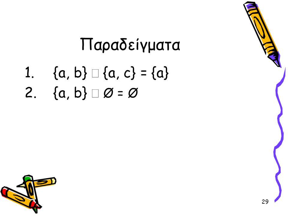 29 Παραδείγματα 1.{a, b}  {a, c} = {a} 2.{a, b}  Ø = Ø