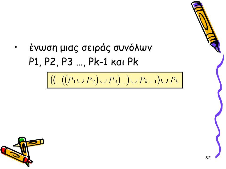 32 •ένωση μιας σειράς συνόλων P1, P2, P3 …, Pk-1 και Pk
