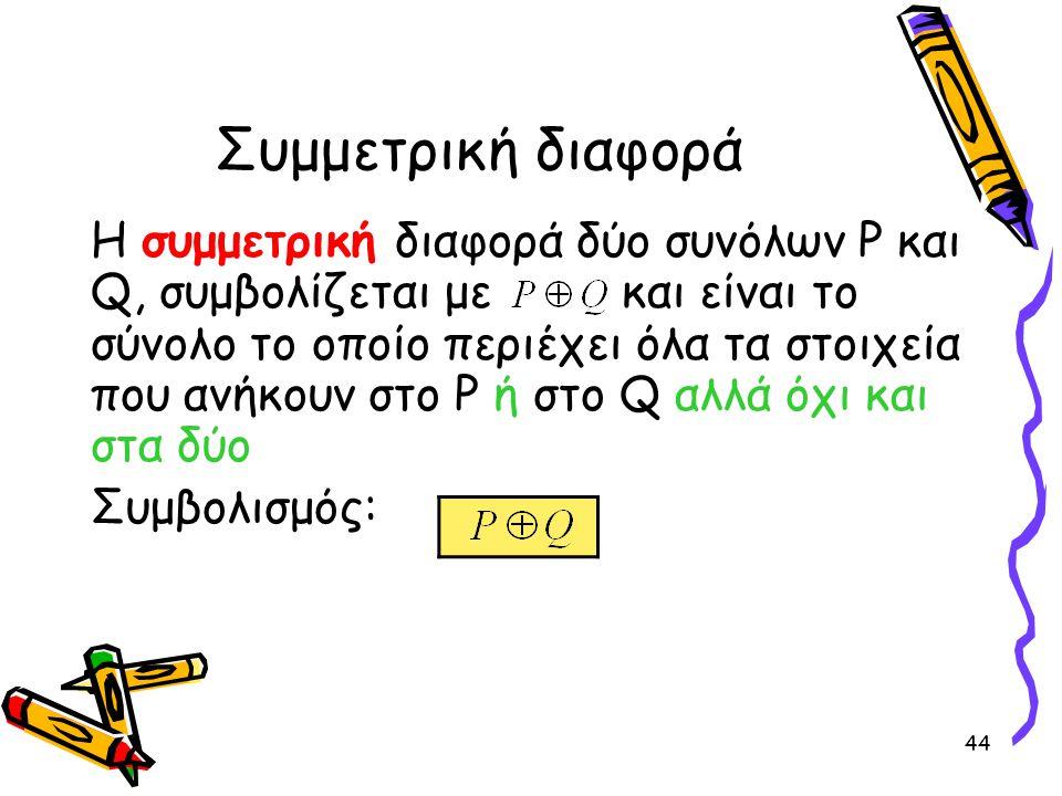 44 Συμμετρική διαφορά Η συμμετρική διαφορά δύο συνόλων P και Q, συμβολίζεται με και είναι το σύνολο το οποίο περιέχει όλα τα στοιχεία που ανήκουν στο