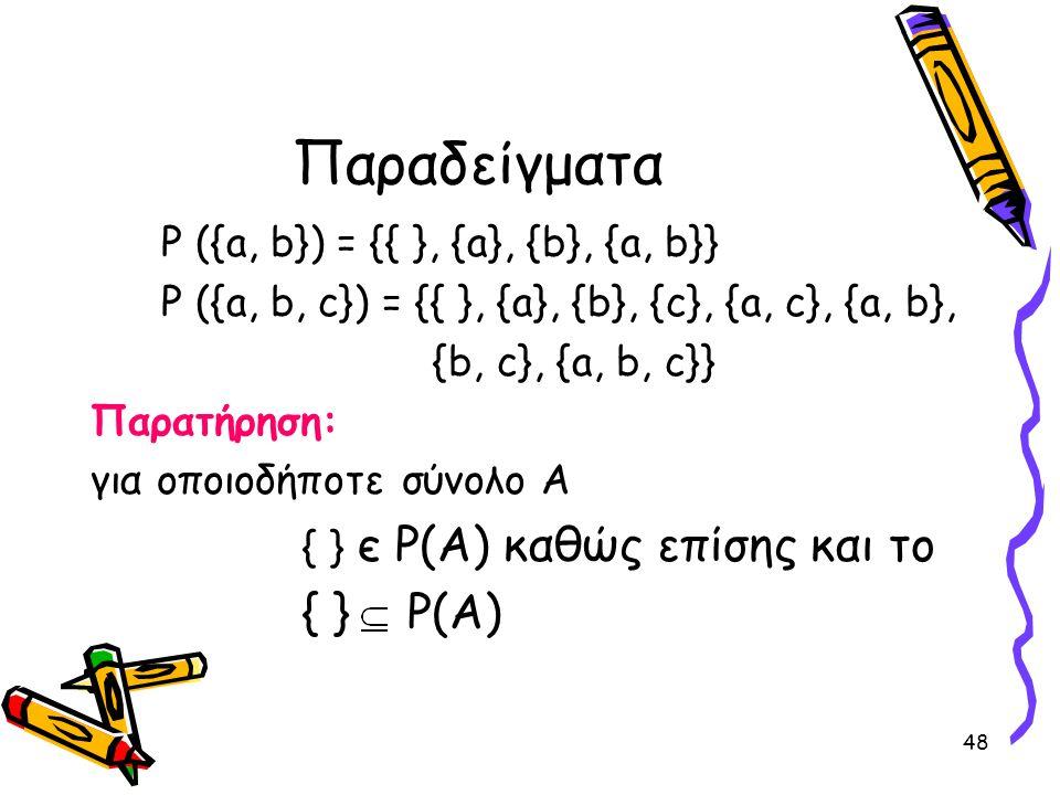 48 Παραδείγματα P ({a, b}) = {{ }, {a}, {b}, {a, b}} P ({a, b, c}) = {{ }, {a}, {b}, {c}, {a, c}, {a, b}, {b, c}, {a, b, c}} Παρατήρηση: για οποιοδήπο