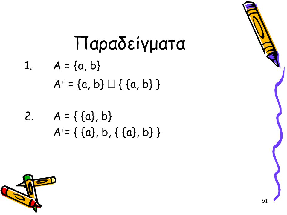51 Παραδείγματα 1.Α = {a, b} A + = {a, b}  { {a, b} } 2. Α = { {a}, b} A + = { {a}, b, { {a}, b} }