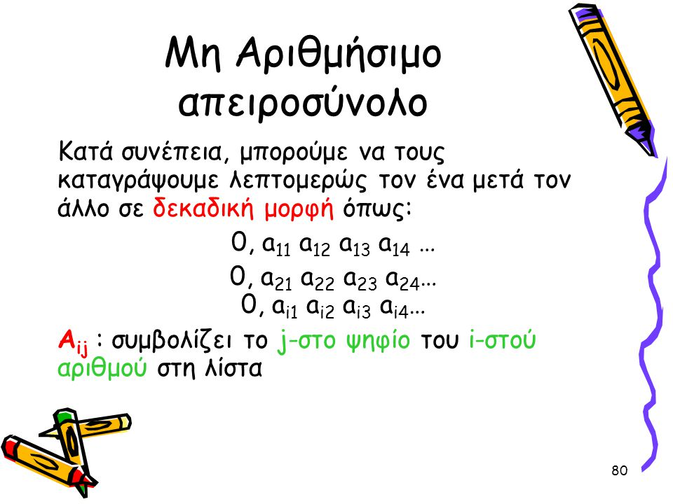80 Μη Αριθμήσιμο απειροσύνολο Κατά συνέπεια, μπορούμε να τους καταγράψουμε λεπτομερώς τον ένα μετά τον άλλο σε δεκαδική μορφή όπως: 0, a 11 a 12 a 13