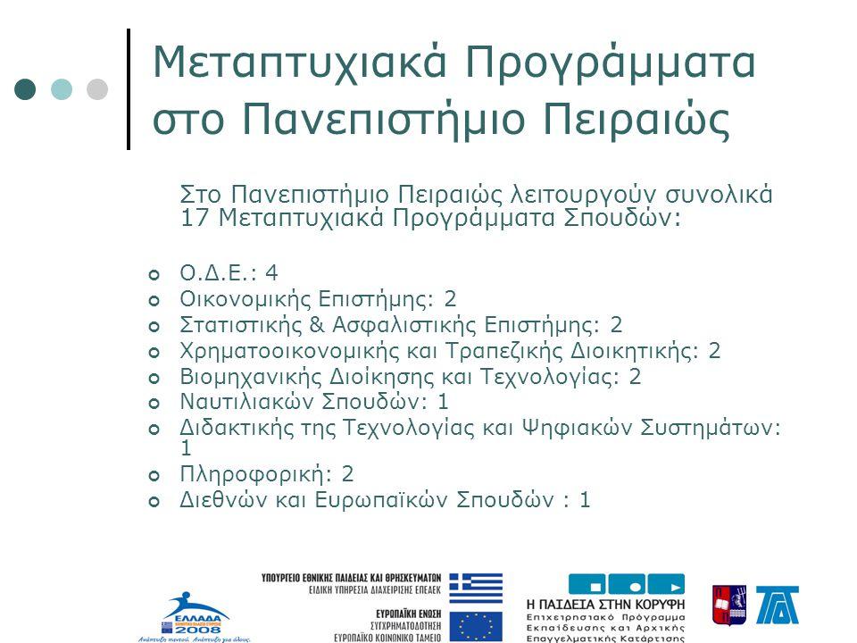 Μεταπτυχιακά Προγράμματα στο Πανεπιστήμιο Πειραιώς Στο Πανεπιστήμιο Πειραιώς λειτουργούν συνολικά 17 Μεταπτυχιακά Προγράμματα Σπουδών: Ο.Δ.Ε.: 4 Οικονομικής Επιστήμης: 2 Στατιστικής & Ασφαλιστικής Επιστήμης: 2 Χρηματοοικονομικής και Τραπεζικής Διοικητικής: 2 Βιομηχανικής Διοίκησης και Τεχνολογίας: 2 Ναυτιλιακών Σπουδών: 1 Διδακτικής της Τεχνολογίας και Ψηφιακών Συστημάτων: 1 Πληροφορική: 2 Διεθνών και Ευρωπαϊκών Σπουδών : 1