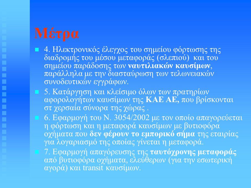 Μέτρα   4. Ηλεκτρονικός έλεγχος του σημείου φόρτωσης της διαδρομής του μέσου μεταφοράς (σλεπιού) και του σημείου παράδοσης των ναυτιλιακών καυσίμων,