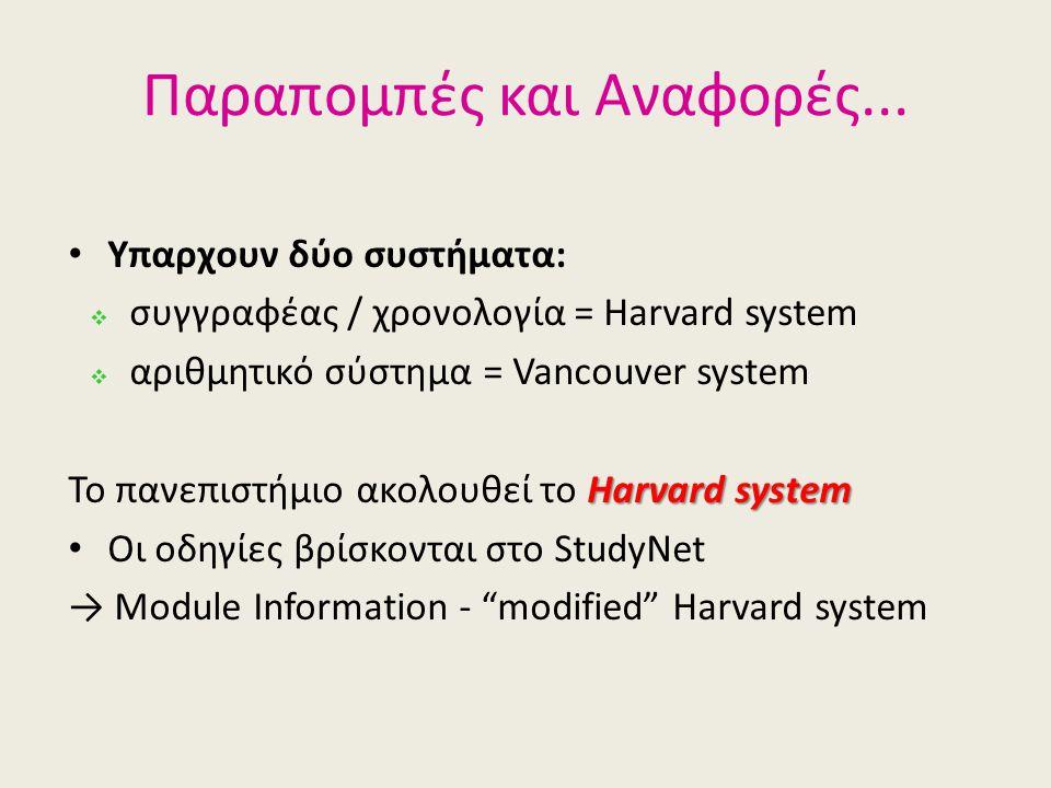 Παραπομπές και Αναφορές... • Υπαρχουν δύο συστήματα:  συγγραφέας / χρονολογία = Harvard system  αριθμητικό σύστημα = Vancouver system Harvard system