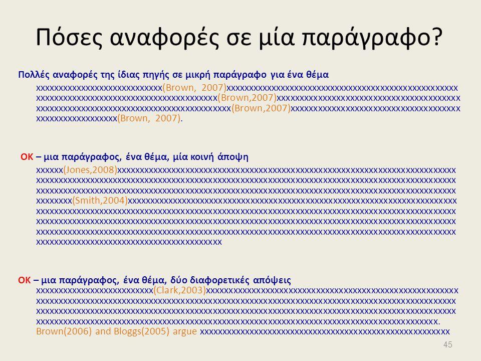Πόσες αναφορές σε μία παράγραφο? Πολλές αναφορές της ίδιας πηγής σε μικρή παράγραφο για ένα θέμα xxxxxxxxxxxxxxxxxxxxxxxxxxxx(Brown, 2007)xxxxxxxxxxxx